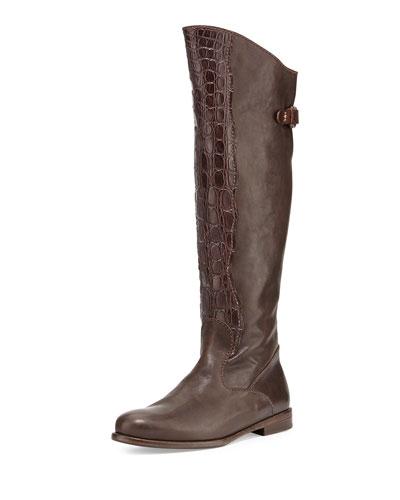 Henry Beguelin Crocodile & Leather Knee Boot, Dark Brown