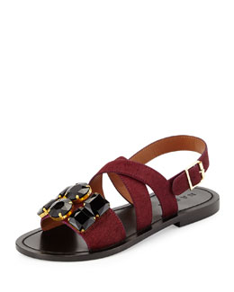 Marni Jeweled Calf Hair Flat Sandal, Bordeaux