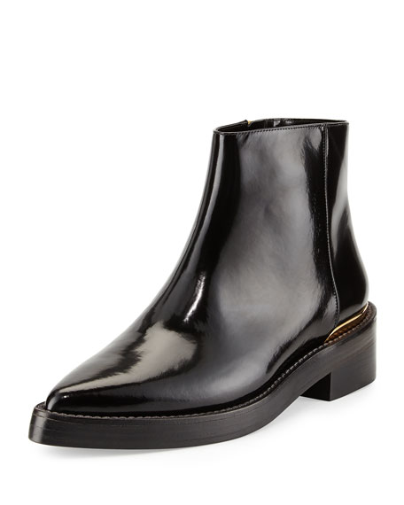 Marni Point-Toe Calfskin Chelsea Boot, Coal