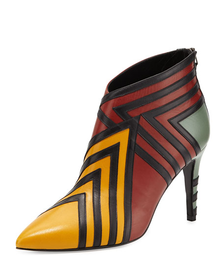 Pierre Hardy Kiss Leather Ankle Boot, Multi Rust