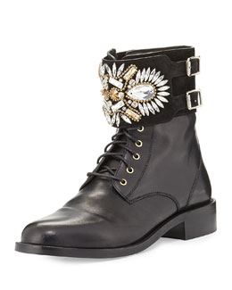 Rene Caovilla Crystal-Cuff Leather Combat Boot, Black
