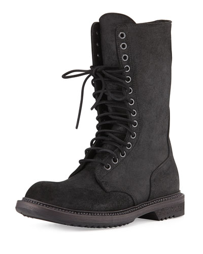 Rick Owens Waxed Laced/Zip Combat Boot