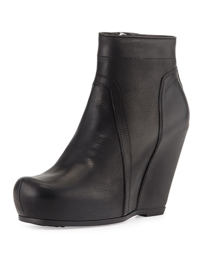Rick Owens Leather Wedge Ankle Boot