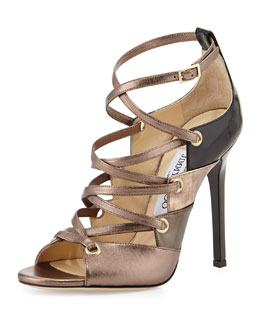 Jimmy Choo Linger Leather Lace-Up Sandal, Gold Mix