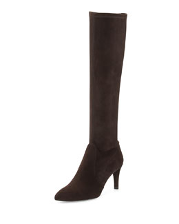 Stuart Weitzman Coolboot Stretch Suede Boot, Cola