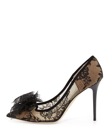 Duchess Lace Bow Pump, Black