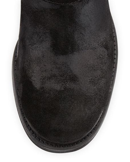 Dash Studded Suede Biker Boot, Black