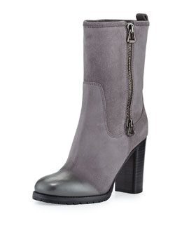 Jimmy Choo Dawson Suede Side-Zip Boot, Light Quartz