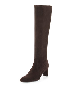 Stuart Weitzman Chicboot Stretch Suede Boot, Cola