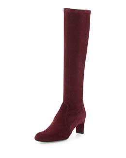 Stuart Weitzman Chicboot Stretch Suede Boot, Bordeaux