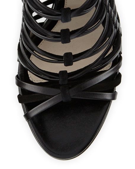 Strappy Leather & Suede Cage Sandal