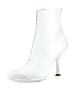 Miu Miu Patent Short Cap-Toe Rain Boot, White