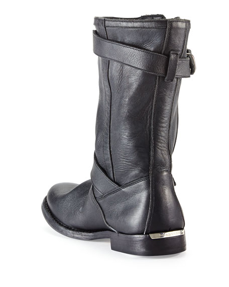 Buckle-Strap Leather Motorcycle Boot, Black