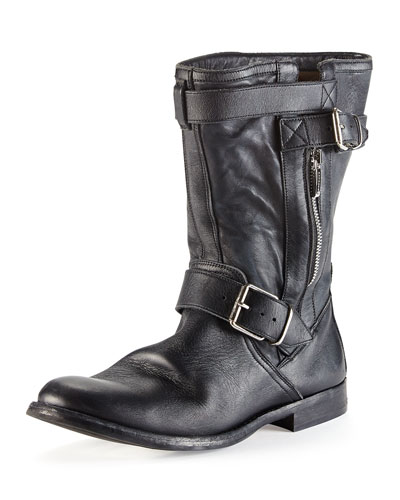 Burberry Buckle-Strap Leather Motorcycle Boot, Black