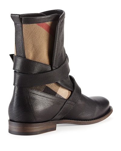 Burberry Leather Check Motorcycle Boot Black