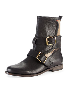 Burberry Leather & Check Motorcycle Boot, Black