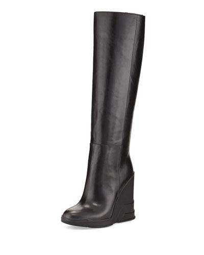 Prada Rubber-Wedge Knee Boot