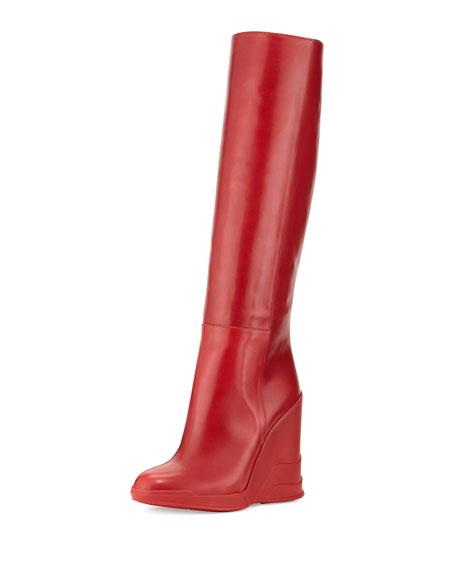 Vitello Leather Rubber-Wedge Knee Boot, Scarlatto