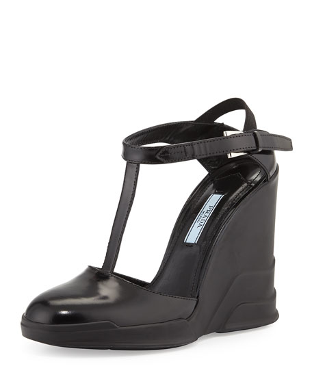 Prada T-Strap Carved Rubber Wedge, Black (Nero)