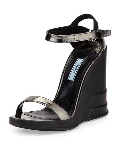 Prada Spazzolato Ankle-Wrap Wedge Sandal, Anthracite