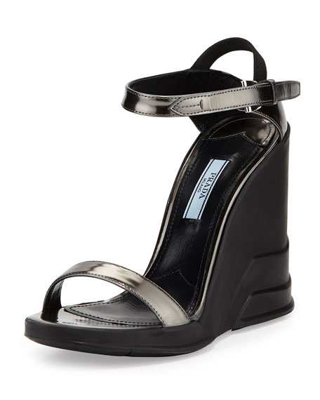 Prada Spazzolato Ankle-Wrap Wedge Sandal, Anthracite