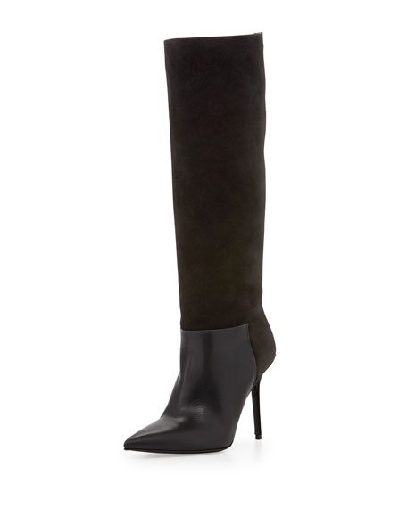 Burberry Suede & Leather Knee Boot, Black