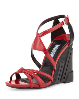 Prada Bi-Color Crisscross Molded Wedge Sandal, Red/Black (Scarlatto/Nero)