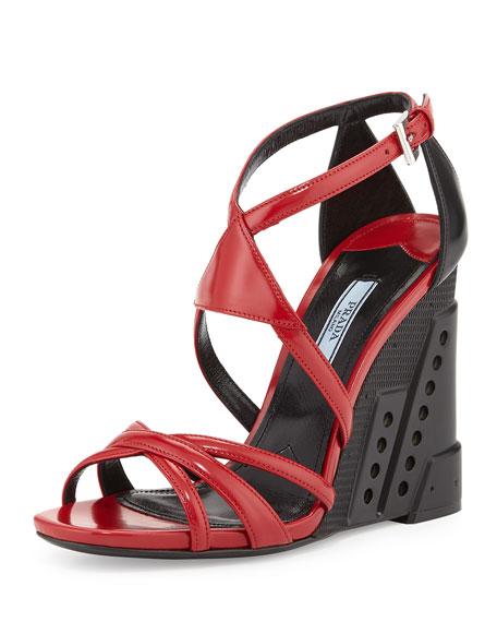 Bi-Color Crisscross Molded Wedge Sandal, Red/Black (Scarlatto/Nero)