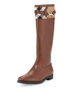 Burberry Check-Top Leather Knee Boot, Dark Tan