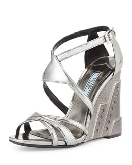 Prada Crisscross Molded Wedge Sandal, Chrome (Cromo)