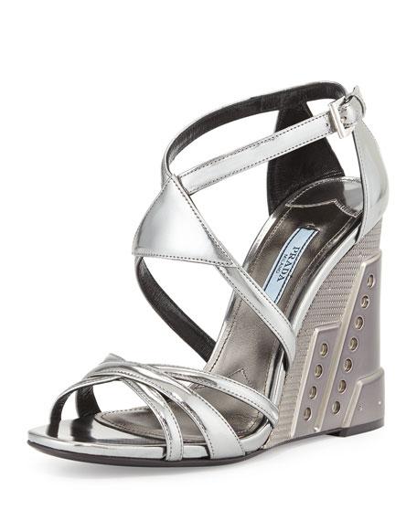 Prada Crisscross Molded Wedge Sandal, Chrome (Cromo)