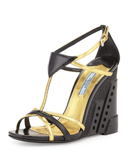 Prada Bi-Color Crisscross T-Strap Molded Wedge, Black/Gold (Nero/Oro)