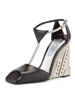 Prada Two-Tone Molded T-Strap Wedge, Black/Silver (Nero/Argento)