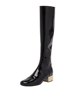 Saint Laurent Glitter-Heel Patent Knee Boot, Noir/New Platine
