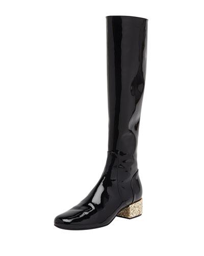 Saint Laurent Glitter-Heel Patent Knee Boot, Noir/New Platine