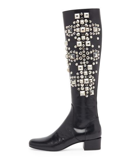 Studded Leather Knee Boot, Noir