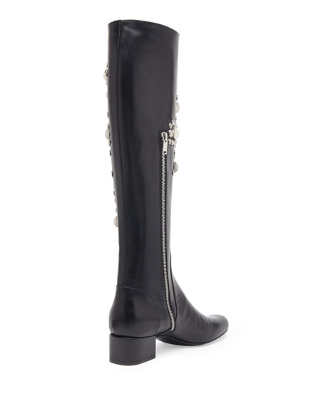Studded Leather Knee Boot, Noir