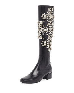 Saint Laurent Studded Leather Knee Boot, Noir