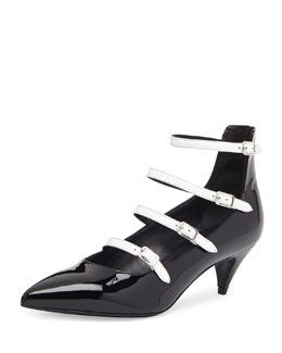 Saint Laurent Patent Ladder-Strap Pump, Black/White