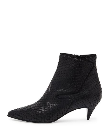 Snake-Embossed Low-Heel Ankle Boot, Noir