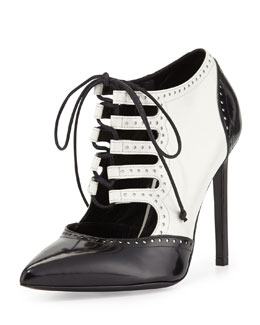 Saint Laurent Lace-Up Saddle Pump, White/Black