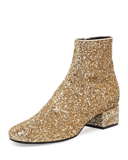 Saint Laurent Mod Glitter Ankle Boot, New Platine