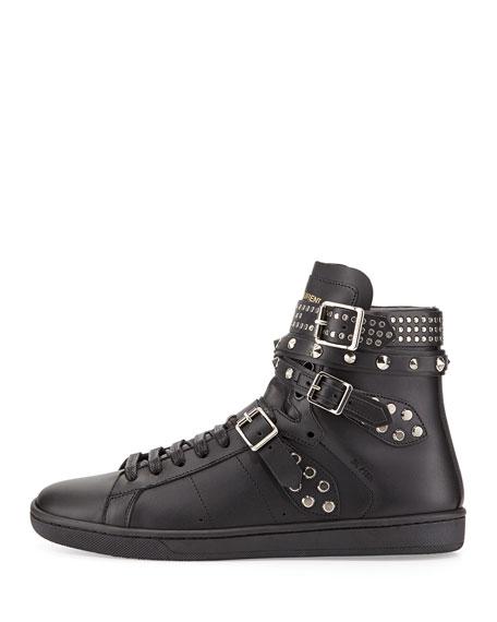 Saint Laurent Studded Triple-Buckle High-Top Sneaker, Noir