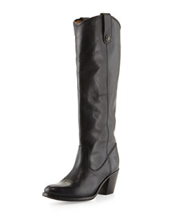 Frye Jackie Button-Tab Boot, Black