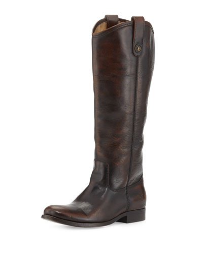 Frye Melissa Leather Button Boot, Dark Brown, Extended Calf