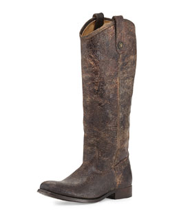 Frye Melissa Extended-Calf Leather Button Boot, Chocolate