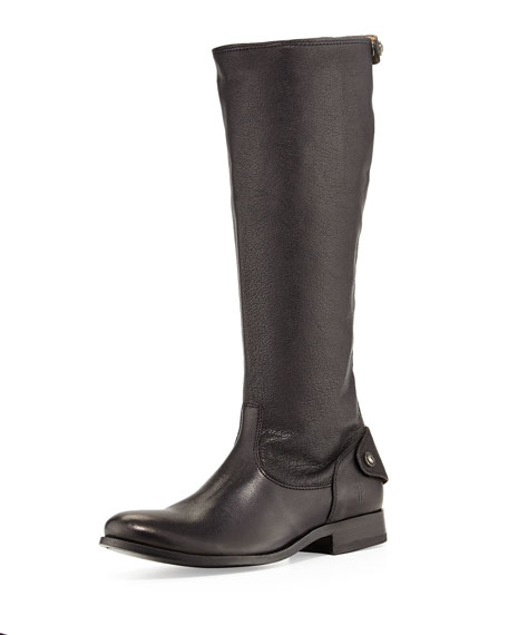 Melissa Leather Zip-Back Riding Boot, Black