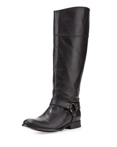Frye Melissa Harness Leather Riding Boot, Black