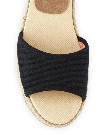 Canvas Espadrille Wedge Sandal, Black
