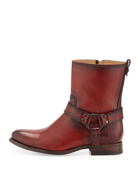 Frye Melissa Short Harness Zip Boot Burnt Red